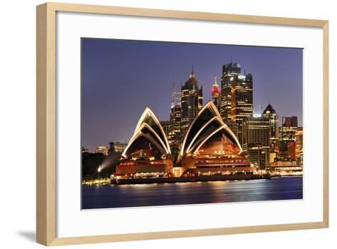 Australia Iconic Sydney City Landmarks CBD Harbour and Famous Buildings Greatly Illuminated at Suns-Taras Vyshnya-Framed Art Print