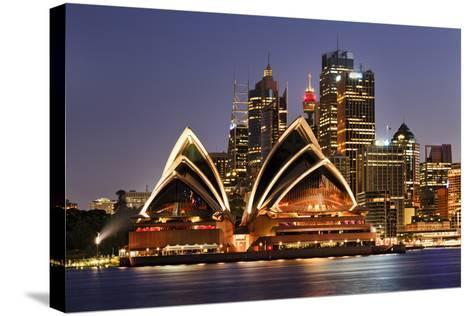 Australia Iconic Sydney City Landmarks CBD Harbour and Famous Buildings Greatly Illuminated at Suns-Taras Vyshnya-Stretched Canvas Print