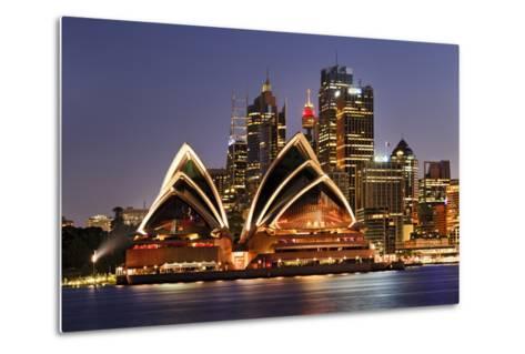 Australia Iconic Sydney City Landmarks CBD Harbour and Famous Buildings Greatly Illuminated at Suns-Taras Vyshnya-Metal Print