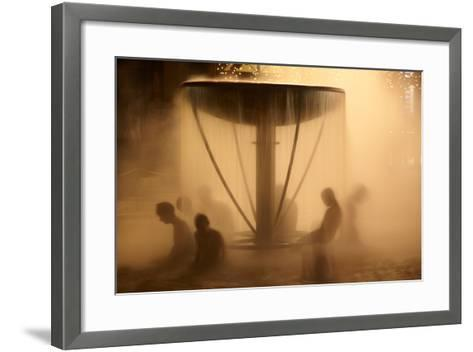 Peoples Sitting in Fountain in Aqua Park-Maksym Gorpenyuk-Framed Art Print