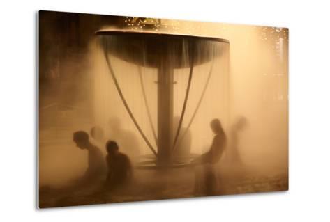 Peoples Sitting in Fountain in Aqua Park-Maksym Gorpenyuk-Metal Print