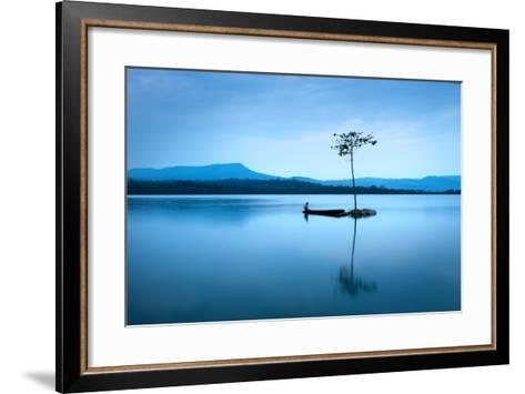 Natural Landscape in Blue. A Boat Floating in Smooth Water at Tranquil Lake .Many Traveller Come Fo- worradirek-Framed Art Print