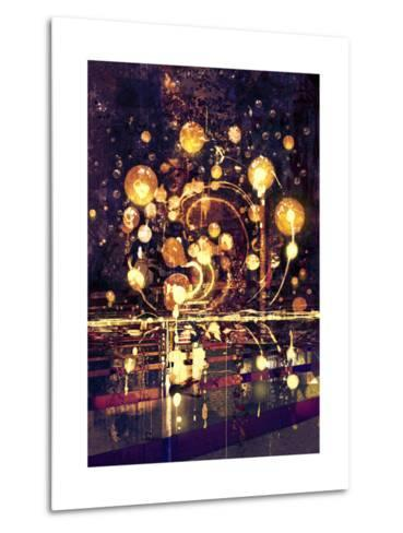 Light Bulb,Abstract Painting Concept,Illustration-Tithi Luadthong-Metal Print