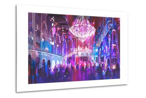 Interior Night Club with Bright Lights,Illustration Painting-Tithi Luadthong-Metal Print