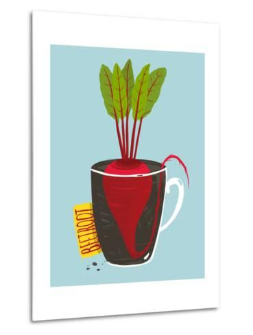Growing Beetroot with Green Leafy Top in Mug. Vegetable Container Gardening Illustration. Layered V-Popmarleo-Metal Print