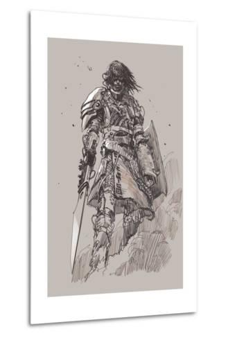 Futuristic Knight with Blade,Drawing,Sketch-Tithi Luadthong-Metal Print