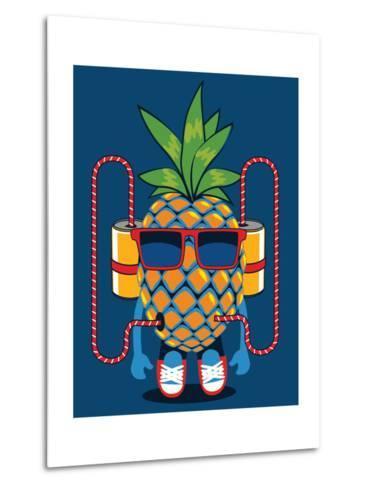 Cool Pineapple Character Vector Design- braingraph-Metal Print