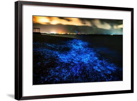 Bio Luminescence. Illumination of Plankton at Maldives. Many Bright Particles.-PawelG Photo-Framed Art Print