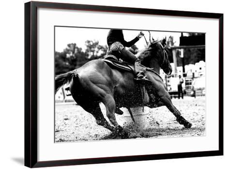 High Contrast, Black and White Closeup of a Rodeo Barrel Racer Making a Turn at One of the Barrels-Lincoln Rogers-Framed Art Print