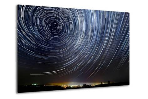 The Motion of Stars around Pole Star in the Night City- AlexussK-Metal Print