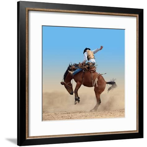 Bucking Rodeo Horse Isolated with Clipping Path-Margo Harrison-Framed Art Print