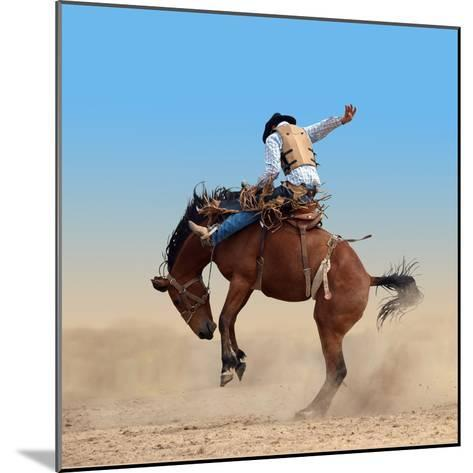 Bucking Rodeo Horse Isolated with Clipping Path-Margo Harrison-Mounted Photographic Print
