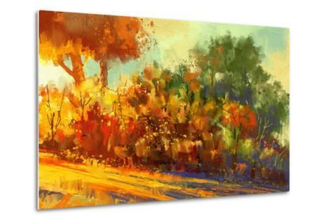 Landscape Painting of Beautiful Autumn Forest with Sunlight-Tithi Luadthong-Metal Print