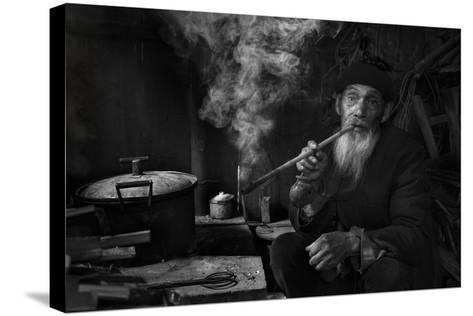Man And Pipe 1-Moises Levy-Stretched Canvas Print