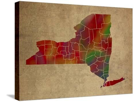 NY Colorful Counties-Red Atlas Designs-Stretched Canvas Print