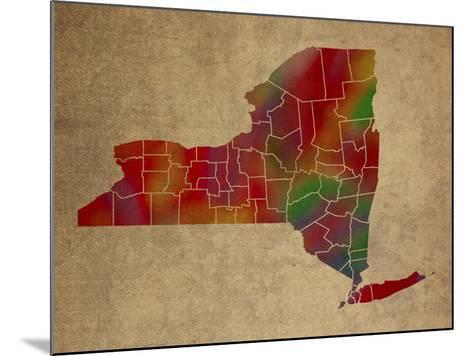 NY Colorful Counties-Red Atlas Designs-Mounted Giclee Print