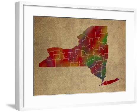 NY Colorful Counties-Red Atlas Designs-Framed Art Print