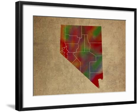 NV Colorful Counties-Red Atlas Designs-Framed Art Print