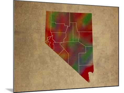 NV Colorful Counties-Red Atlas Designs-Mounted Giclee Print
