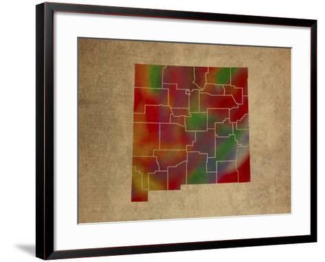 NM Colorful Counties-Red Atlas Designs-Framed Art Print