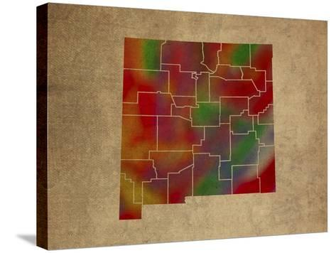 NM Colorful Counties-Red Atlas Designs-Stretched Canvas Print