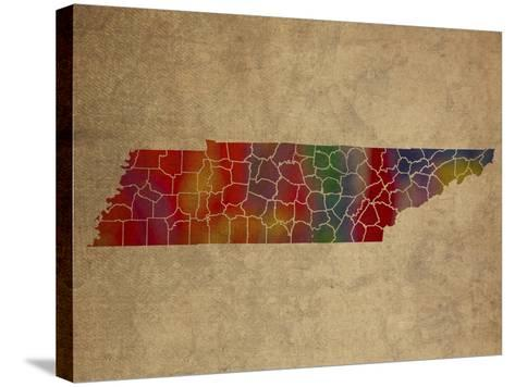 TN Colorful Counties-Red Atlas Designs-Stretched Canvas Print