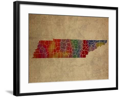 TN Colorful Counties-Red Atlas Designs-Framed Art Print