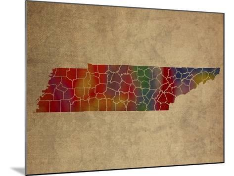 TN Colorful Counties-Red Atlas Designs-Mounted Giclee Print
