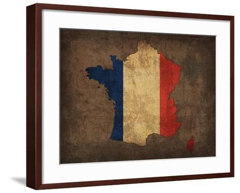 France Country Flag Map-Red Atlas Designs-Framed Art Print