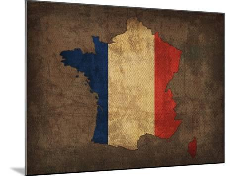 France Country Flag Map-Red Atlas Designs-Mounted Giclee Print