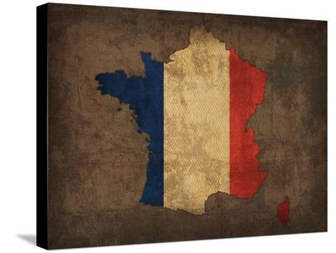 France Country Flag Map-Red Atlas Designs-Stretched Canvas Print