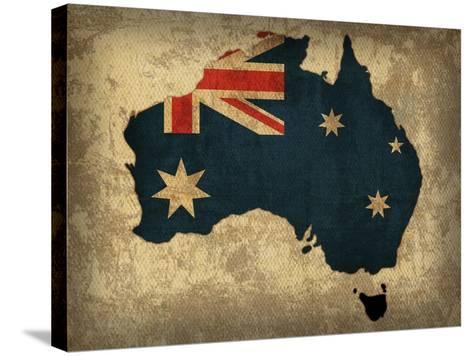Australia Country Flag Map-Red Atlas Designs-Stretched Canvas Print