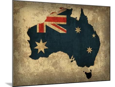 Australia Country Flag Map-Red Atlas Designs-Mounted Giclee Print