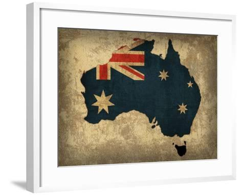 Australia Country Flag Map-Red Atlas Designs-Framed Art Print