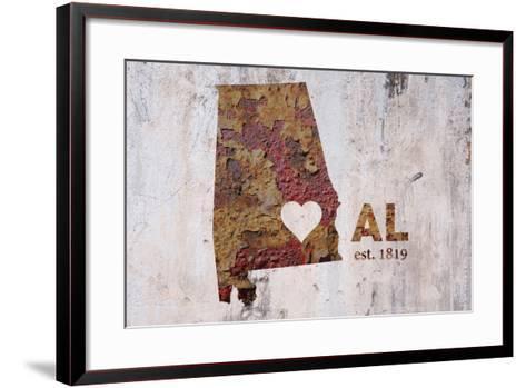 AL Rusty Cementwall Heart-Red Atlas Designs-Framed Art Print