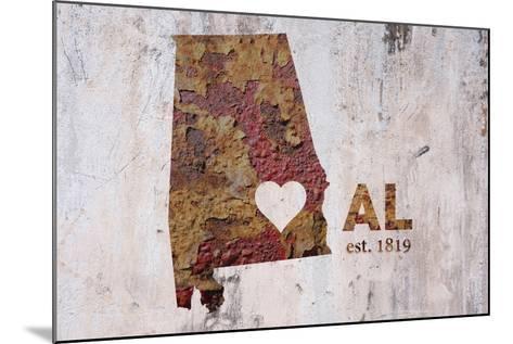 AL Rusty Cementwall Heart-Red Atlas Designs-Mounted Giclee Print