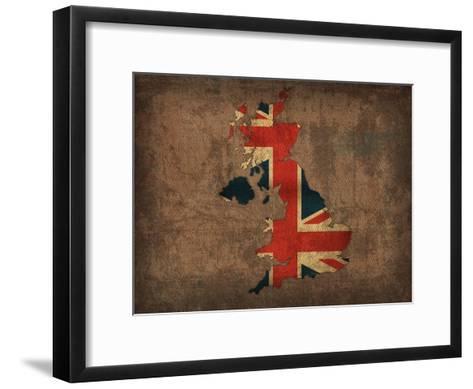 United Kingdom Country Flag Map-Red Atlas Designs-Framed Art Print