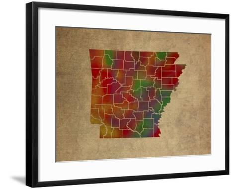 AR Colorful Counties-Red Atlas Designs-Framed Art Print