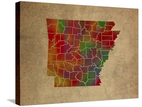 AR Colorful Counties-Red Atlas Designs-Stretched Canvas Print