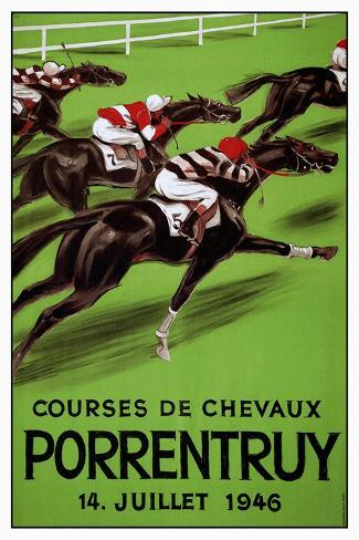 Laubi Hugo Courses Chevaux Porrentruy Year 1946-Vintage Lavoie-Stretched Canvas Print