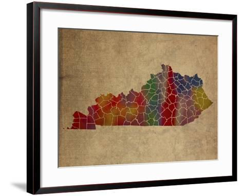 KY Colorful Counties-Red Atlas Designs-Framed Art Print