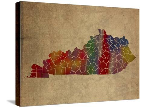 KY Colorful Counties-Red Atlas Designs-Stretched Canvas Print
