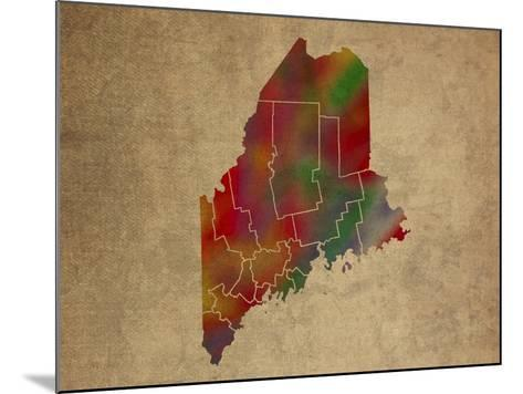 ME Colorful Counties-Red Atlas Designs-Mounted Giclee Print