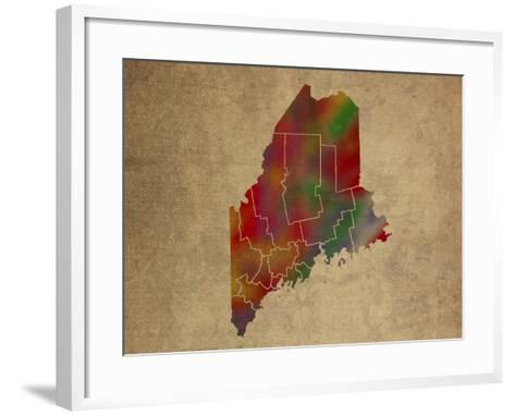 ME Colorful Counties-Red Atlas Designs-Framed Art Print