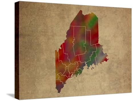 ME Colorful Counties-Red Atlas Designs-Stretched Canvas Print