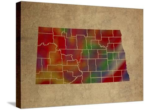 ND Colorful Counties-Red Atlas Designs-Stretched Canvas Print