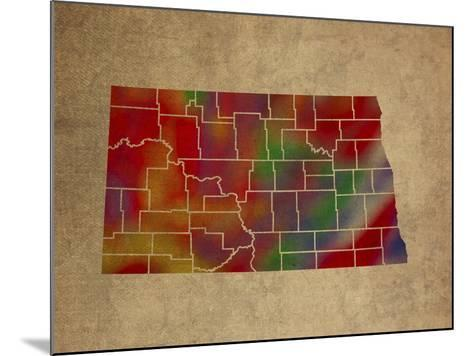 ND Colorful Counties-Red Atlas Designs-Mounted Giclee Print