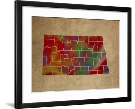 ND Colorful Counties-Red Atlas Designs-Framed Art Print