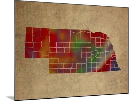 NE Colorful Counties-Red Atlas Designs-Mounted Giclee Print