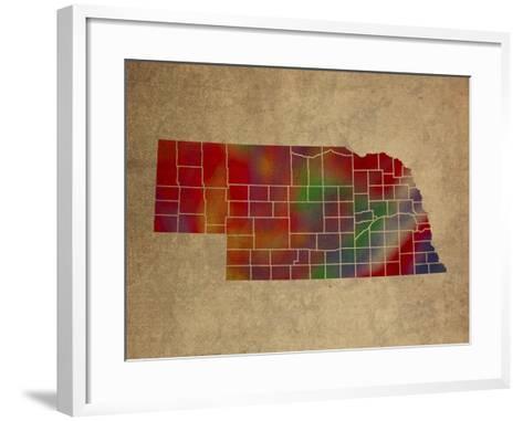 NE Colorful Counties-Red Atlas Designs-Framed Art Print